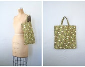 vintage 1960s Italian tote bag - market shopper / Olive Green - geometric floral print / Italy - 50s polished cotton