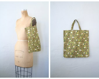 vintage 1960s Italian tote bag - market shopper bag / Olive Green - geometric floral print tote bag /Italy - 50s . 60s polished cotton bag