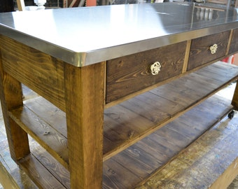 Beautiful But Simple Kitchen Island Stainless Steel Top Square Legs