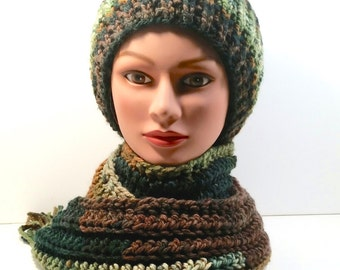 BEAUTIFUL Winter Hat and Scarf Set. Variegated colors called Deep Woods: earth tones in greens, golds, browns. Fringe. Crochet. Muffler.