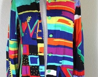 Vintage LEONARD Paris Colorful LOVE Cotton Blazer Jacket Sweater Sz. S - M 6 7 8