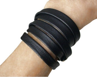 Leather Wrapping Bracelet, Black Leather Bangle Cuff , 5 Wrap Layered Leather Bracelet Cuff, made to fit