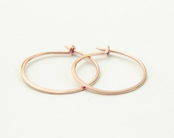 Medium Rose Gold Filled Hoops, Hammered Wire Hoops, Gold Filled Wire, Simple Hoop Earrings, Modern Jewelry, Hand Made, Gift, EAR004