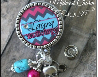 nurse or Radiology..Xray..Personalized retractable badge reel with pinch clip..nurse..teacher...md..id holder..lanyard..bottlecap jewelry