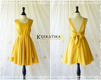 Mustard dress yellow dress mustard party dress mustard prom dress mustard cocktail dress bow back dress mustard bridesmaid dresses