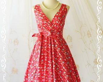 SALE Red dress V neck dress heart print dress red dress party dress red sundress red bridesmaid dresses red summer dress