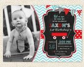 Little Red Wagon  Birthday Invitations