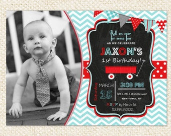 Little Red Wagon  Birthday Invitations
