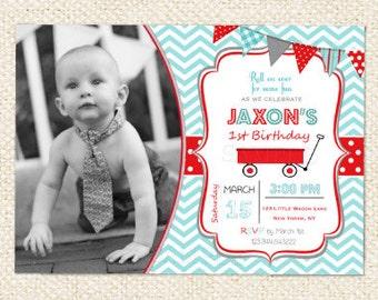 Red Wagon  Birthday Invitations - Wagon Birthday Invitations - Wagon Invitations - DIY printables
