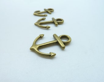 30pcs 15x19mm Antique Bronze Lovely Anchor  Charm Pendant C3286