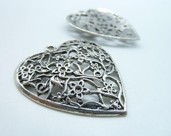 6pcs 38x41mm Antique Silver  Lovely Filigree Heart Charm Pendant c3661