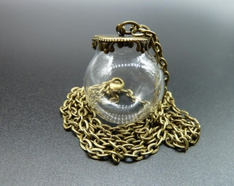 1 set 25mm Clear Glass Globe Bottle Pendant With Antique Bronze Brass Base Setting and Chain N1106025-2