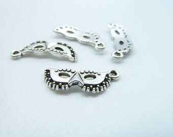 30pcs 8x19mm Antique Silver  Mini Mask Charm Pendant  c4186