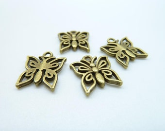 30pcs 13x15mm Antique Bronze Filigree Butterfly Charm Pendant c4209