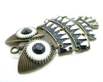 2pcs 46x83mm Antique Bronze Enamel Lovely Heavy Owl Charm Pendant c4519