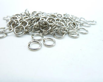 About 380pcs 6mm White K (Rhodium Color) Silver Tone Jump Ring ---30g