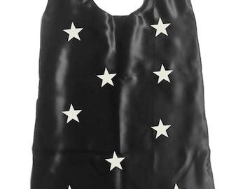 Black Wizard cape for kids Halloween Costume / Magic Stars Cape for children