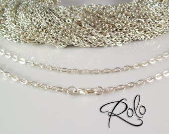 "200 24"" Silver Plated ROLO Chain Necklaces with Lobster Clasp 3mm  - Bright and Shiny"