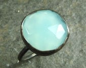 Rose Cut Aqua Blue Chalcedony and oxidized Sterling Silver Ring