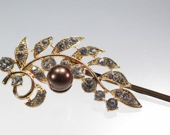 Beautiful  Sweeping Hair Pin Clear Rhinestones Chocolate Pearl Gold Tone Metals