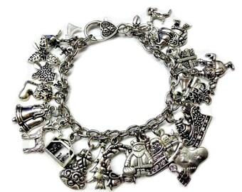 Christmas Themed Charm Bracelet - Holiday Charm Bracelet