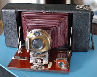 No. 9 Ansco Model A Folding Camera with red Bellows and Brass Wollensak  Shutter