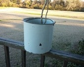 Enamel Farm Bucket Weathered Worn White Enamel Metal Handle Home Decor Cottage Farmhouse Rusty Bucket