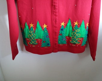 Bechamel Red Christmas Sweater Women's Medium Holiday Trees