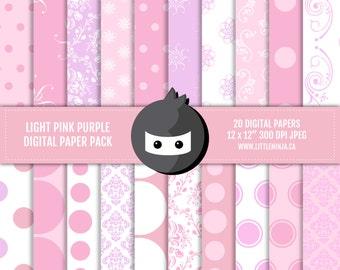 "INSTANT DOWNLOAD // Pastel Pink and Purple Digital Paper Pack // 300 dpi, jpeg, 12x12"""