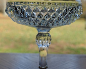 Indiana Glass Clear Diamond Point Compote