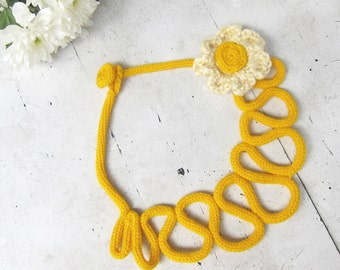 Knit crochet Necklace in mustard yellow, crochet cream flower brooch, Eco-Friendly gift, lace statement necklace