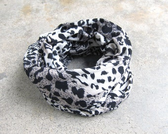 Infinity jersey scarf in leopard print - Ready to Ship Cotton Knit Fabric scarves