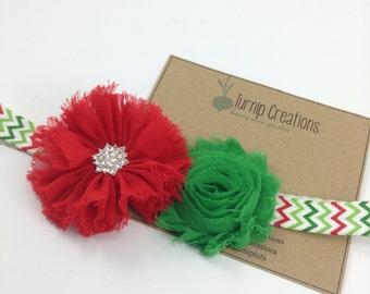 Christmas Headband Red and Green Chevron Headband Shabby Frayed Ballerina Flower Shabby Flower Headband photo prop