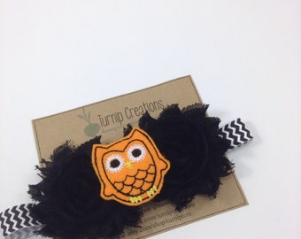 Owl Headband Halloween Headband Black Shabby Flower Chevron Headband Black & Orange Feltie Photo Prop