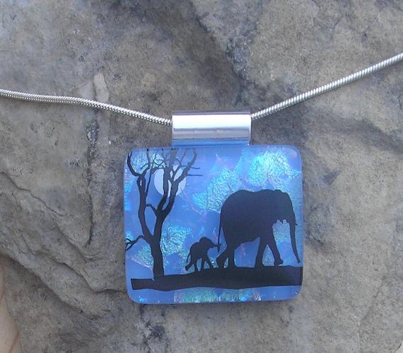 Baby Elephant Necklace Dichroic Fused Glass Jewelry  Elephant Pendant