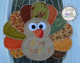 Burlap Turkey Door Hanger Thanksgiving Burlap Door Hanger Turkey Door Hanger Turkey Wreath Turkey for the Door Give Thanks
