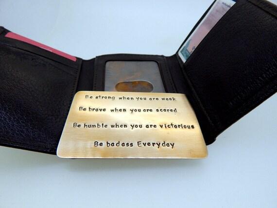 Wallet Insert Brass Card - Personalized Hand Stamped Metal - Gift Husband Boyfriend 8 Eight Year Anniversary, Boyfriend Gift, Christmas