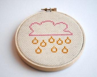 RAIN CLOUD Modern Cross Stitch Pattern