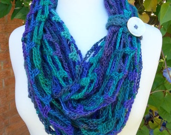 Soft Cozy Infinity Cowl, Cool Shades of Blue Green Purple Shell Button Tie