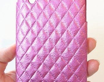For LG Google Nexus 5 Pink Diamond Quilted Leather Cell Phone Mobile cellular smartphone snap on Hard case Shell Cover Fashionable Trendy