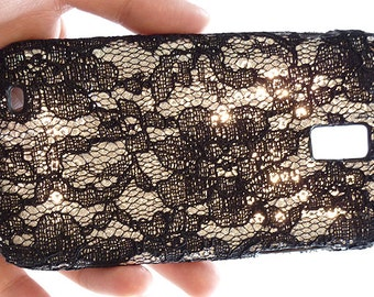 For Samsung Galaxy S 2 II S2 SGH-T989 T-Mobile Sequin Blace Flower Lace Cell Phone Hard Case