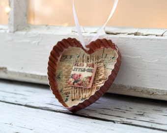 Vintage Cookie Cutter Holiday Ornament - Copper Heart