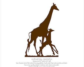 """Giraffe with baby calf - 24"""" tall Metal Wall Art - you choose color with rust accents patina - safari wall art giraffe with calf metal art"""