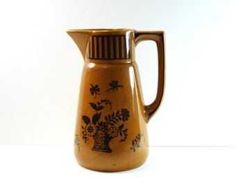 German Ceramic Pottery Pitcher 1970s - Mid Century Glazed Pitcher from Germany