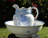 Antique Pitcher Jug and Bowl - Large Wash Basin - Burgess & Leigh - Burslem Primula 11675
