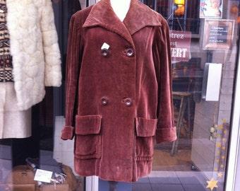 1940 Brown Corduroy Swing Coat Jacket