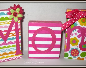 Mom Mother's Day  Wood Blocks  Handmade Mothers Day Gift Gift for mom