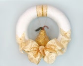 White Wreath, Yarn Wrapped, Gold Glittered Pear, Gold Embossed Ribbon