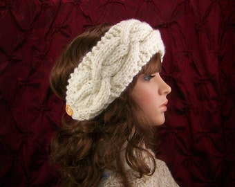 Hand knit headband, headwrap, ear warmer - ivory color - women's winter accessories handmade by Sandy Coastal Designs - made to order
