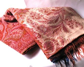 Antique Large Cashmere Shawl -Civil War Era  - RARE Color Paisley Shawl - Museum Quality-